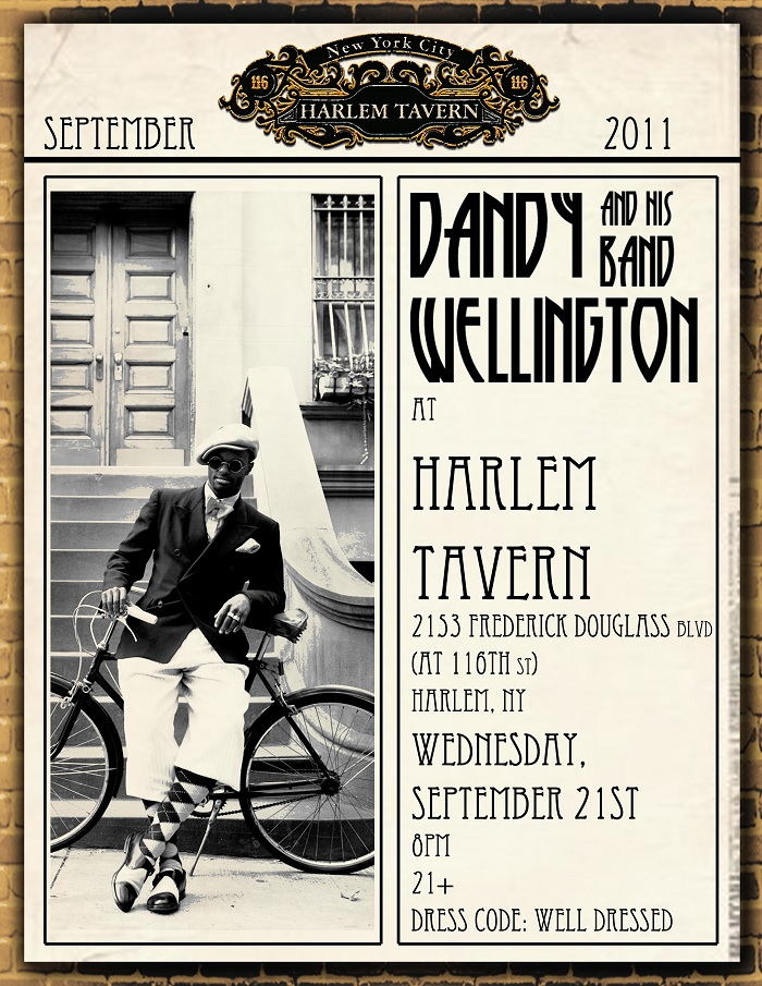 Harlem Tavern2 Invite: Dandy Wellington and His Band at Harlem Tavern.