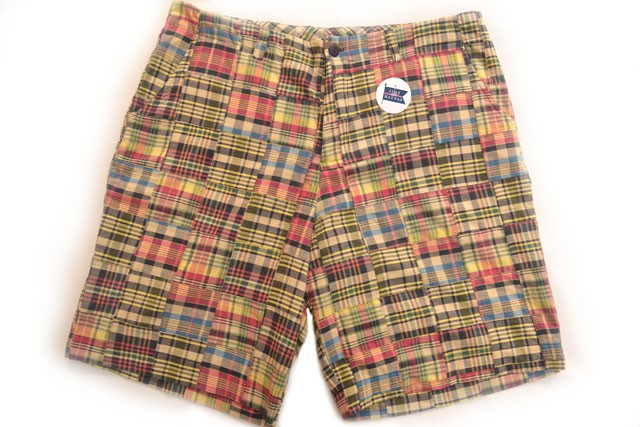 Madras Plaid Patchwork Bermuda Shorts in Montauk