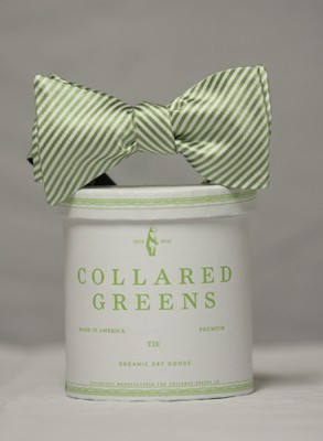 Collard Greens Stripes Bowtie in Green