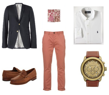 Salmon Prep Blazer Luxe Outfit: The Salmon Colored Chino.