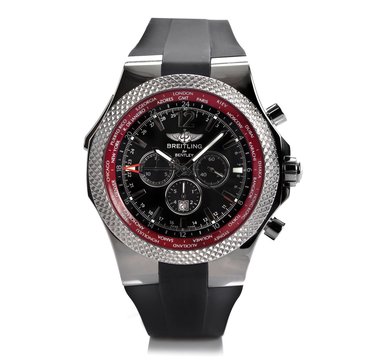 breitling for Bently Feel the Need for Speed with the Breitling for Bentley Limited Edition GMT V8 Watch.