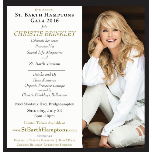 Invite: 5th Annual St. Barth Hamptons Gala Hosted by Christie Brinkley