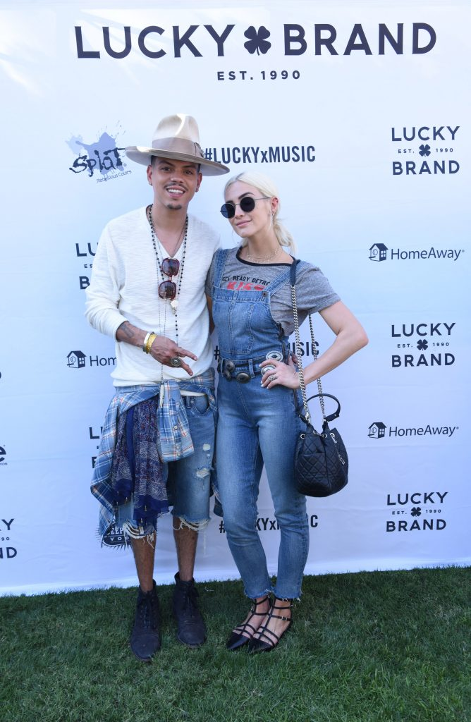 Evan Ross and Ashlee Simpson attend Lucky Lounge Presents Desert Jam